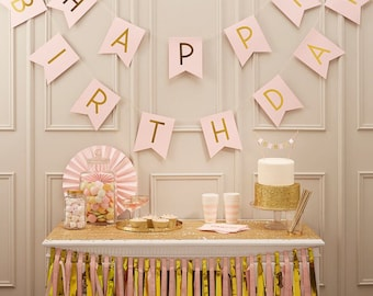 Bunting | Happy Birthday Bunting | Pink Bunting | Gold Foil Bunting | 2.5m long | Party Bunting | Birthday Bunting