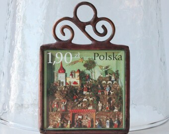 Christmas Ornament Polish Nativity Postage Stamp Stained Glass Nativity Diorama by Ogdenarthaus