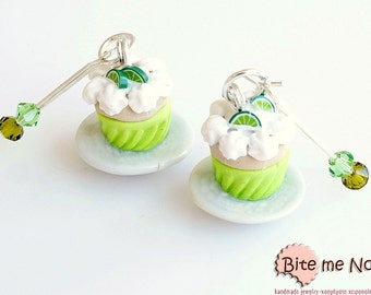 Polymer clay Jewelry Lime Cupcakes Hook Earrings, Mini Food, Cupcake Earrings, Cupcake Jewelry, Miniature Food Jewelry, Lime Earrings