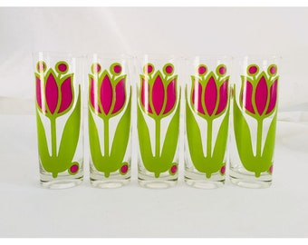 "Rare Vintage Colony  Glass Set of 5 Purple and Green Tulip Design7""H X 2.5""D Tall Glasses"