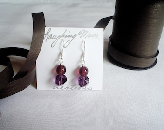 Plum Fairy in the Rain Earrings in crystal, glass and sterling silver- Custom Order