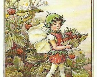 Strawberry Fairy by Cicely Mary Barker Flower Fairies Vintage Print 1995 Wall Art Nursery Decor Fairy Print Home Decor Print Fine Art