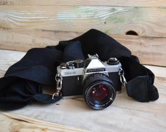 camera strap, DSLR camera strap, black linen camera scarf,