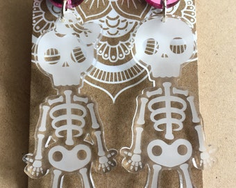 Mr. And Mrs. Skeleton Dangle Studs with Pink Mirror Spot.