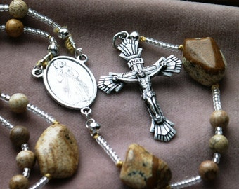 Picture Jasper Beaded Style Rosary with Silver Toned Metal Crucifix and Medal