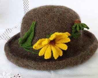 Hand Knit Wool & Mohair Felt Hat Brown  Black Eyed Susan