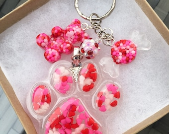 Sprinkle Paw Key Chain with Bear and Candy
