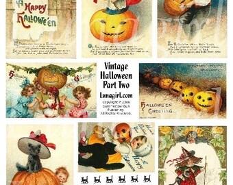 Feuille de collage numérique VINTAGE HALLOWEEN #2, victoriens, cartes postales, vintage sorcières chats de citrouilles, Clapsaddle éphémères d'images enfants téléchargement