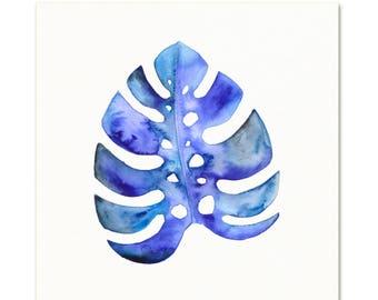 Blue Monstera Leaf Art Print. Tropical Plant Wall Art. Indigo Monstera Painting. Modern Boho Botanical Wall Art. Modern Wall Art. Plant Art.