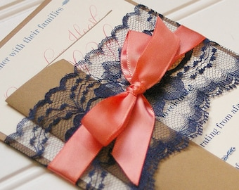 Navy and Coral Wedding Invitations Handmade Cards Rustic