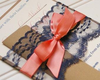 Navy and Coral Wedding Invitations. Lace Invitation. Rustic Wedding. Shabby Chic Wedding. Vintage Wedding.