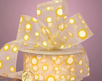 "5YDS Whimsical ""Pop Dots"" 1-1/2"" Ribbon Sheer Yellow & White Polka Dot"