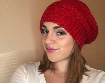 Knit Look Slouchy Hat