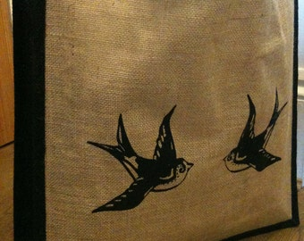 Large jute tote shopper bag with cute vintage tattoo swallows design
