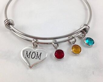 Mothers Day Bracelet, Mothers Day Gift, Mom Bracelet, Gift for Mom, Birthstone Bracelet, Mom Jewelry, Keepsake for Mom, Custom Mom Bracelet