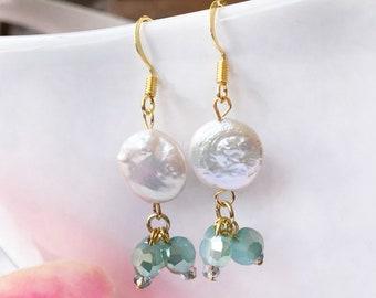 Coin pearl earrings, green beaded earrings, pearl earrings, freshwater pearl earrings, pearl and green earrings, pearl dangles, drop