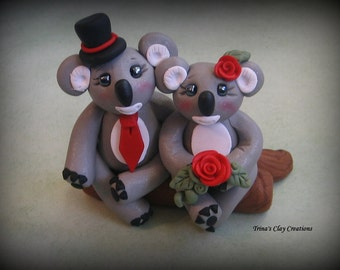 Wedding Cake Topper, Koala, Polymer Clay Custom Wedding or Anniversary Keepsake, Animal, Bear