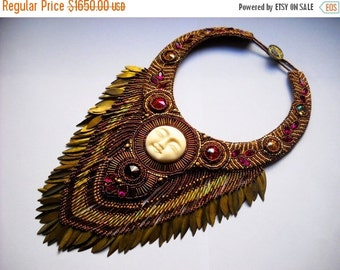 SALE 15% OFF Bead Embroidery necklace pink gold fuchsia - Bead Embroidered- Made to Order