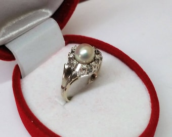 585er diamond ring N 016 Freshwater Pearl 19 mm GR124