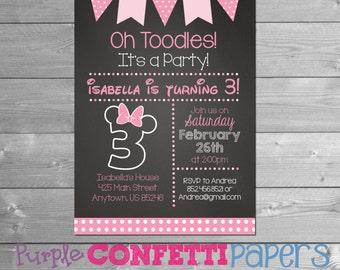 Minnie Mouse birthday invitation, Minnie Birthday Invitation, Minnie Mouse Third Birthday, 3rd, Chalkboard, 3, Minnie Printable Invitation
