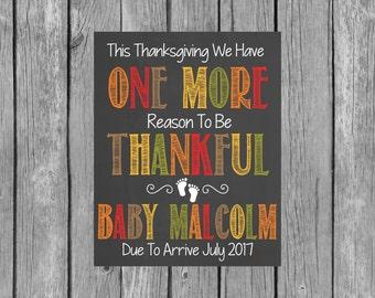 Thanksgiving Pregnancy Announcement Chalkboard Printable File - Thanksgiving - Pregnancy Chalkboard File