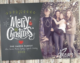 Holiday Photo Card - Christmas Card - Photo Christmas Card - Chalkboard - DIY Printable - Digtial File