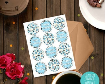 Happy Birthday blue black floral Printable Cupcake Toppers, Birthday decoration, Instant download, party decoration, treat decorations, DIY
