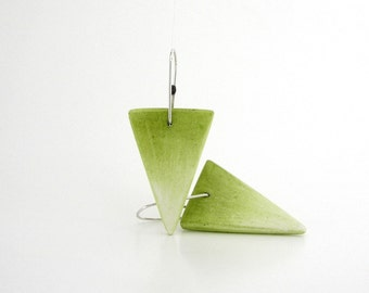Yellow - green triangle earrings, air dry clay, ombre geometric earrings, dangle, modern minimalist, sterling silver, geometric, white