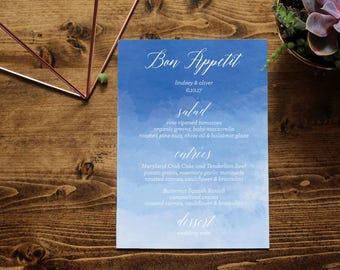 Navy Blue Watercolor Menu | Hand-Painted Ombre Watercolor | Customized Printable Menu