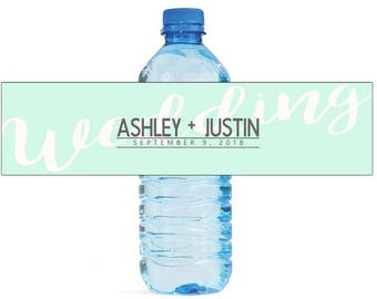 Mint Wedding Water Bottle Labels Great for Engagement Bridal Shower Party Easy to Use Self Stick