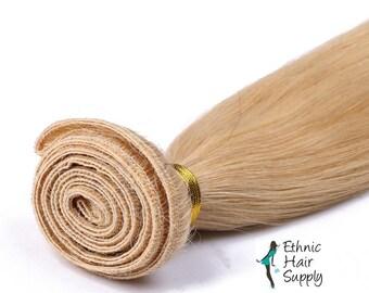 Hand Tied Lightest Blonde Color #613 Virgin Blonde Human Hair Weft