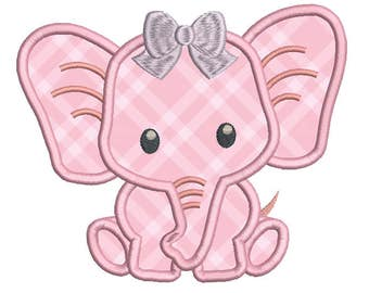 Baby Elephant Applique Embroidery Design, Cute Elephant Machine Embroidery, 4x4, 5x7, 6x10, Baby Embroidery, Instant Download No: A545-2
