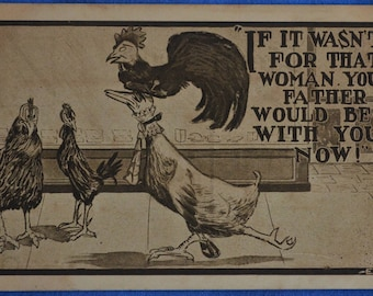 Chicken Roosters If It Wasn't For That Woman Comic Antique Postcard