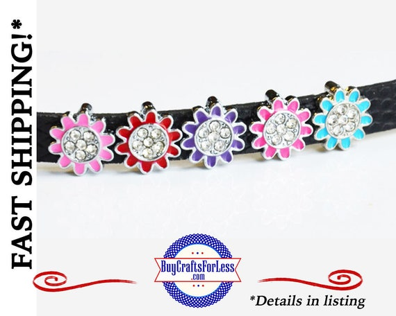 RHiNESTONE FLOWER Slide CHARM for 8mm Bracelets, Collars, Key Rings - CuTE! +FREE Shipping & Discounts*