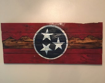 Hand painted Tennessee state flag sign with mountain line
