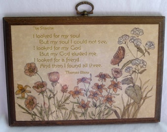 Vintage Wall Hanging, Vintage Wall Plaque, The Search, Thomas Blake, Inspirational Verse, Wooden Plaque, Metal Hanger, Vintage Home Decor