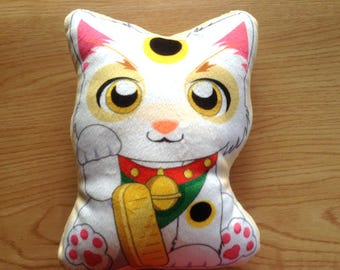 Lucky Cat Pillow, Double sided, Lucky Cat plushie, Cat Plush pillow, Maneki Neko Plush, Cute Cat Stuffed pillow, Cat gift, Cat lover gift