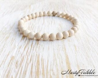 Riverstone Bracelet, Gemstone Bracelet, Earthy Bracelet, Boho Bracelet, Buddhist Jewelry, Healing Crystal Bracelet, White Bracelet, Vegan
