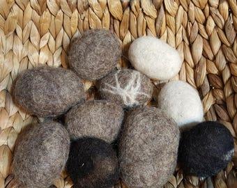 Felt stones - pebbles for decoration natural wool