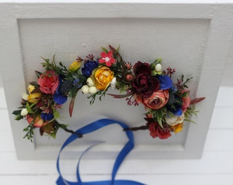 Royal blue red flower crown Fall floral accessories  Floral headpiece Wedding hair wreath Bridal halo Bridesmaid crown Autumn Flower girl