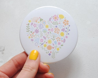 Pretty floral heart mirror – mom gift – pocket mirror – mum gift – pocket mirror –gift for her – bridesmaid gift – gift for mother