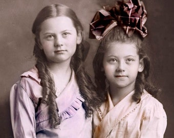 Loving Sisters Ringlets Bow and Button Boots Tinted Vintage Photo Print