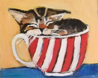 Original acrylic painting sleeping kitten in a teacup adorbs home decor snoozing kitty cat art 6x6inches