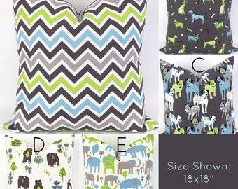 Green & Blue Throw Pillows  - 18x18 - Mix/Match patterns pillow sham euro throw modern custom nursery bear elephant dogs Premier Prints