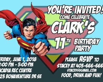 SUPERMAN Birthday Invitation - Digital Printable File 5x7