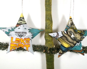 Grand River Brewery Lake Rat Beer Can Ornaments - Set of 2 Recycled Michigan Craft Beer Stars - Christmas Ornaments Or Father's Day Gift