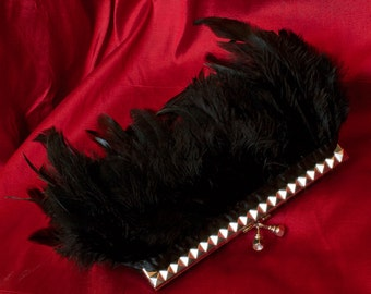 Black Studded Feather Studded Purse Clutch with Jeweled Clasp