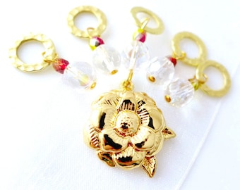 SALE - The White Rose of York - Wars of the Roses Collection - Five Handmade Stitch Markers - 6.5mm (US 10.5) - Last Sets