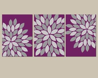 FLOWER Wall Art, Eggplant Bedroom Canvas or Prints, Eggplant Bathroom Decor, Flower, Set of 3 Wall Decor Wall Decor