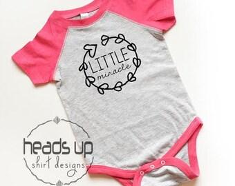 Baby Girl Little Miracle Raglan Bodysuit - Little Miracle Baby Girl Bodysuit - Baby Shower Gift for Girl - Trendy Little Miracle - Hipster